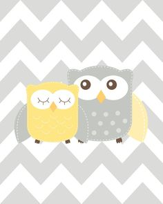 Nursery Art Trio Nursery Owl Art Grey and Yellow by ChicWallArt