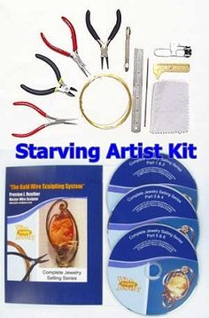 This complete tool kit has everything you need to get started in wire sculpture! Small flush cutters, flat nose pliers, chain nose pliers, round nose pliers along with a polishing cloth, quick clamp, pin vise, ruler, 50 feet of practice wire, brass caliper and needle file. The perfect toolkit for any starving wire artist.