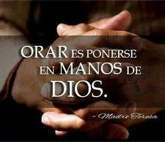 Orar es ponerse en las manos de Dios. Madre Teresa.-♥