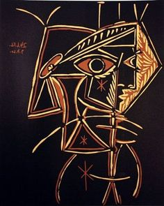 "Pablo Picasso ""Tête de Femme"", 1959 SIGNED LIMITED EDITION LINOCUT Hand pulled Size 13x15 http://www.zaidan.ca/Art_Gallery/Auctions/13_06_05_6_4_Dr._Watsons_Estate_Auction.htm"