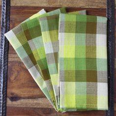 Green Madras Check Fair Trade Cotton Linen Napkins, Set of 4