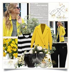 """""""yellow coat"""" by vicky-soleil ❤ liked on Polyvore featuring Forever New, Nearly Natural, Equipment, VIPARO, BCBGeneration, Whiteley and Peony"""