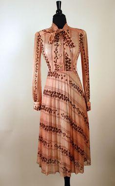 Vtg 70s Japanese Miss Secretary Day Dress Pretty Pink w/ Brown Butterfly Print  #JapaneseBrand