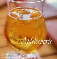 Traditional German drink ... Apfelschorle ... check it out here: http://www.quick-german-recipes.com/apfelschorle.html