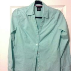 "Selling this ""Mint long sleeve button up blouse"" in my Poshmark closet! My username is: savvysouthchic. #shopmycloset #poshmark #fashion #shopping #style #forsale #Tops"