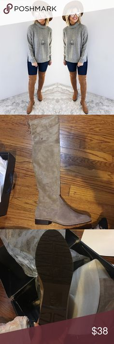 Beige Over the Knee Boots Super cute Over the Knee Boots!! Never worn. Comes with original box and dust bag for evey boot. Really loved fhem but they didnt fit me. Color of the boots is lighter than the example picture posted Shophopes Shoes Over the Knee Boots