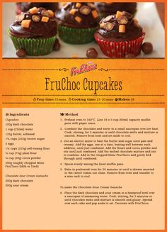 FruChoc Cupcakes Melting Chocolate, Cooking Time, Tasty, Yummy Yummy, Great Recipes, Sweet Treats, Oven, Ice Cream, Cupcakes