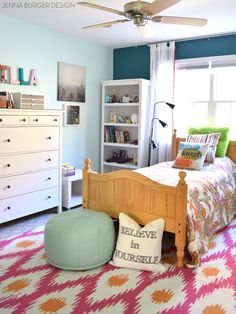 Teen Bedroom Makeover Reveal With Hues Of Turquoise + Mint + Fuchsia And  Layers Of Texture Filled With Creative DIY Projects!
