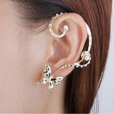 1 Pair Crystal Rhinestone Butterfly Ear Clip Earring-fashion,Earrings - newchic.com