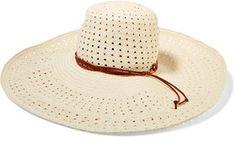 Zimmermann Faux Leather-Trimmed Straw Hat #hat #womens