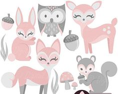 Baby Woodland Animal Clipart, Girl, Baby Clip Art, Pink Bunny, Deer & Fox