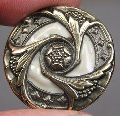 Brass Art Nouveau Floral Button w/Iridescent Glass