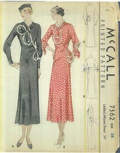 1930s Sewing Pattern - McCall 7362