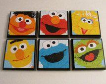 Sesame Street Kids Room Wall Plaques - Set of 6 Sesame Street Room Decor - Big Bird Elmo Ernie Bert Cookie Monster Oscar the Grouch Signs