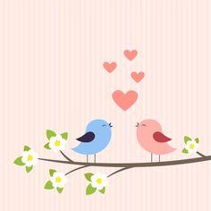 Illustration of Couple of birds in love. vector art, clipart and stock vectors. Sheep Vector, Owl Vector, Vector Art, Doodle Wedding, Train Vector, Cute Cartoon Characters, Cute Sheep, Bird On Branch, Vector Flowers