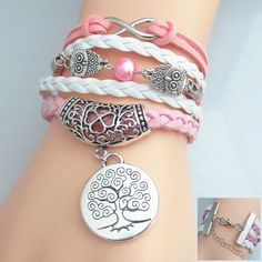 Stylish Owl Bead Tree Pattern Weaved Layered Friendship Bracelet For Women