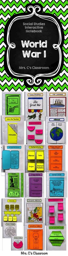 This interactive notebook covers WORLD WAR I. It includes causes of the war, alliances, the U.S. entering the war, U-boats, the Lusitania, new weapons, life in the trenches, Woodrow Wilson, women and the war, paying for the war, Treaty of Versailles, and more.