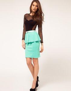 Paprika | Paprika Peplum Belted Skirt at ASOS