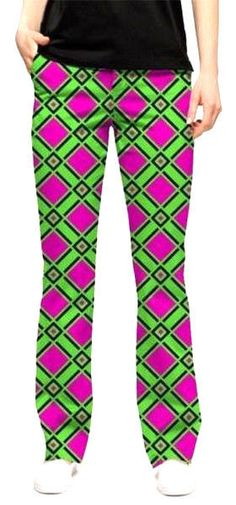 c67093f1a Loudmouth Golf Pants Ladies sz 0 DOGWOOD Argyle Green Purple NEW John Daly  WILD #LoudmouthGolf