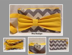 Yellow and gray chevron bow wristlet by Brea Boutique