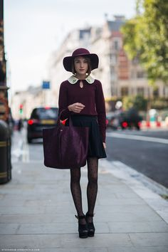 StockholmStreetStyle. Girly. Plum. Sparkle. Chunky shoes. Vintage collar.