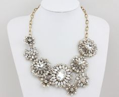 Crystal Statement Necklace White Statement Necklace by Necklace21, $19.90