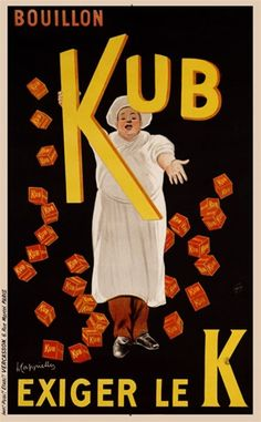 Boullon Kub by Cappiello 1911 France - Beautiful Vintage Poster Reproduction. French poster features a chef sprinkling red boxes of bouillon all around him on a black background. Giclee advertising prints. Classic Posters