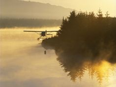 Float Plane on Beluga Lake at Dawn, Homer, Alaska, USA Photographic Print