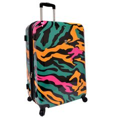 @Overstock.com - Traveler's Choice Colorful Camouflage 29-inch Hardside Expandable Spinner Luggage - This 29-inch fluorescent camouflage upright is made to absorb impact by flexing while under stress, then popping back to its original shape, protecting contents. Multi-directional spinner wheels allow rolling in multiple directions.  http://www.overstock.com/Luggage-Bags/Travelers-Choice-Colorful-Camouflage-29-inch-Hardside-Expandable-Spinner-Luggage/8326200/product.html?CID=214117 CAD…