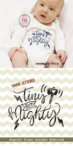 Tiny but mighty, cute fun funny new baby hammer lighting digital cut files, SVG, DXF, studio3 for cricut, silhouette cameo, diy vinyl decals by LoveRiaCharlotte on Etsy