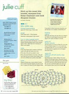 Crochet Bracelet - Chart Crochet Diagram, Crochet Chart, Love Crochet, Thread Crochet, Diy Crochet, Crochet Stitches, Crochet Patterns, Bracelet Crochet, Yarn Bracelets