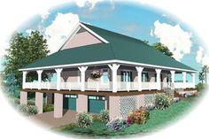 Wrap-around porch house plan # 170-2800