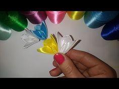 Лепесток - мотылек #2 Канзаши, мастер класс DIY サテンリボンの花 Flower of satin ribbons - YouTube