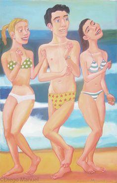 Bailando en la playa 7, acrylic on canvas, 65 x 100 cm, 2014
