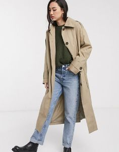 ASOS Design Boyfriend Trench Coat in Stone Wardrobe Fails, Asos, Tailored Coat, Belted Coat, Camel Coat, White Tees, Who What Wear, Wool Coat, Winter Coat