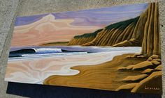 """New commission : """"Cliffs at Sunset"""" (48""""×24"""") Acrylic on carved birch plywood #wood #woodcarving #surf #surfing #art #artist #surfart #ocean #oceanart #seascape #3D_art #waves #clouds #woodgrain"""
