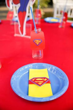Superman place setting from a Calling All Superheroes Birthday Party on Kara's Party Ideas | KarasPartyIdeas.com (35)