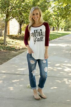 Show your team spirit with this classic cut football yall tee! Available in two colors, this casual comfy little tee is perfect for your next kick off. Scoop neckline with a white body, black lette Sports Shirts, Football Shirts, Osu Baseball, Football Moms, Football Fever, Football Quotes, Softball, Fall Outfits, Casual Outfits