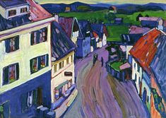 """Wassily Kandinsky - """"View from the Window of the Griesbrau"""", 1908"""
