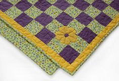 Purple Polk-a-Dots and Flowers Quilt