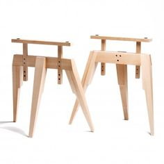 Tréteau bois : Tréteaux design pied compas en bois naturel SCP                                                                                                                                                     Plus