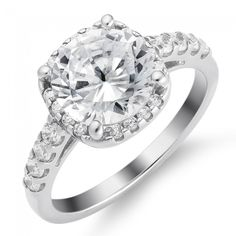 Classic Square Halo Engagement Ring in Sterling Silver ( 3.1 ct. tw.)