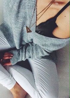 3237cdca6e knit v-neck + lace bralette Cute Lounge Outfits