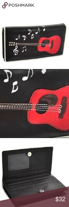 "Wallet -Red Guitar and Notes (Black) Black Wallet with Red Guitar and Notes Design Photo id, money and credit card slots Wallet size: 7 1/2"" X 3 1/2"" X 1"" Man-made high quality Bags Wallets"