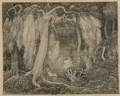 Jan Toorop, Vrouw aan de rand van een meer, Not dated, Pencil and crayon on paper - Jan Toorop Symbolism - Jan Toorop Research Center