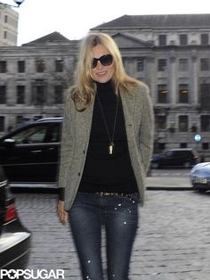 """Kate Moss donned a necklace that read """"Love."""""""