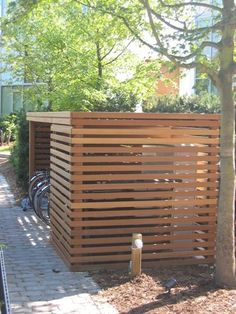 timber slat bike shed