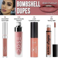 """1,975 Likes, 24 Comments - All in the Blush (@allintheblush) on Instagram: """"So a lot of you guys have been asking for dupes for Kat Von D's new Everlasting Liquid Lipsticks…"""""""