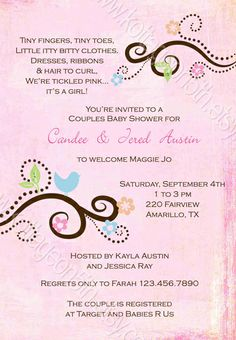 Love Bird - Printable Baby or Bridal Shower Invitation - Love these soft sweet colors. XOXO by kottageon5th.com