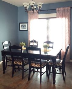 Before & After Open Plan Dining Room & Entry  Room Colors Dark Custom Color Dining Room Design Inspiration